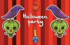 Halloween-Vektorhintergrundschablone mit Raben, Kürbis, Schädel, Stockfotos
