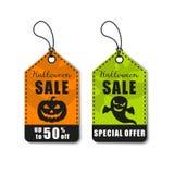 Halloween vektorillustration Allhelgonaaftonförsäljning, rabatt och erbjudandeetikett, klistermärke Royaltyfria Bilder