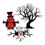 Halloween-Vektorillustration mit Hexe laden Geister ein Stockfotos