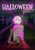 Halloween-Vektorillustration Zombie zieht Hand zum Discoball Einladung an Halloween-Party Lizenzfreie Stockfotografie