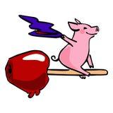 Halloween-Vektorkarikaturschwein- und -süßigkeitsapfel vektor abbildung