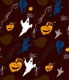 Halloween-vektormusterskelett Stockbild