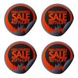 Halloween-Verkaufsaufkleber mit Hand 10,20,30,40 Lizenzfreie Stockfotos