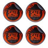Halloween-Verkaufsaufkleber mit Spinne 10,20,30,40 stock abbildung