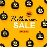 Halloween-verkoop met zwarte pompoenen royalty-vrije stock foto