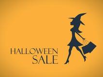 Halloween-verkoopachtergrond Elegante, sexy heks Royalty-vrije Stock Foto