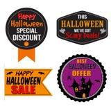 Halloween-verkoopetiket, sticker of zegels Stock Afbeeldingen