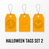 Halloween-verkoopmarkeringen geplaatst vector geïsoleerde malplaatjes Stock Afbeeldingen