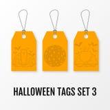 Halloween-verkoopmarkeringen geplaatst vector geïsoleerde malplaatjes Stock Foto