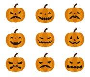Halloween, verschillende gelaatsuitdrukkingen van Jack o Lantaarn royalty-vrije illustratie