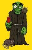 Halloween-verschrikkingsmonnik in robe met uil en rat Royalty-vrije Stock Afbeelding