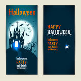 Halloween vertical banners set on blue and darkblue background. Royalty Free Stock Images