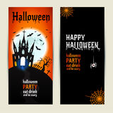 Halloween vertical banners set on orange and black background. Stock Photos