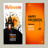 Halloween vertical banners set on orange and white background. Stock Photography