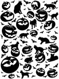 Halloween vertical silhouettes, bats, cats and pumpkins isolated on white Royalty Free Stock Photo