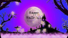 Halloween video with ghost, cemeterey, witch and dark color