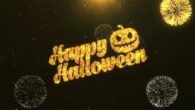 Halloween-Viering, Wensen, Begroetende Tekst op Gouden Vuurwerk vector illustratie