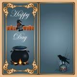 Halloween, vieringsachtergrond met een magische ketel Royalty-vrije Stock Afbeelding