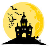 Halloween view of castle, moon, bats and hill. Silhouette vector illustration. Royalty Free Stock Photos