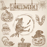 Halloween vintage engraving: witch bat pumpkin cemetery cobweb Royalty Free Stock Image