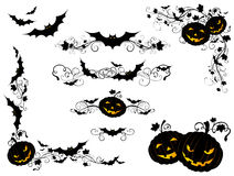 Halloween vintage page decorations and dividers. Royalty Free Stock Images