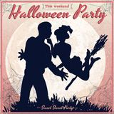 Halloween vintage poster - witch and a man Royalty Free Stock Photography