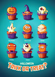 Halloween vintage vector poster. Trick or treat. Cakes with monsters Royalty Free Stock Image