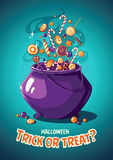 Halloween vintage vector poster. Trick or treat. Magic cauldron and sweets Royalty Free Stock Photography