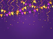 Halloween violet background with pennants and streamers Royalty Free Stock Image
