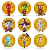 Halloween-Vollmond-Zeichensatz stock abbildung