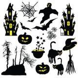 Halloween-voorwerpen op witte achtergrond worden geïsoleerd die Royalty-vrije Stock Afbeelding