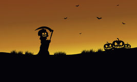 Halloween warlock and pumpkins silhouette Royalty Free Stock Images