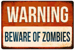 Halloween warning sign. Beware of zombies. Vector illustration, eps10. Royalty Free Stock Image