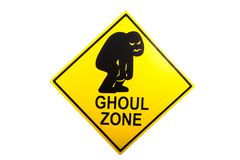 A Halloween warning sign for the holiday. A ghoul zone novelty sign isolated against a white background Royalty Free Stock Images