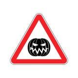 Halloween Warning sign red. Masquerade Hazard attention symbol. Royalty Free Stock Photo