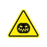 Halloween Warning sign yellow. Masquerade Hazard attention symbo Stock Photo