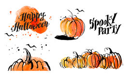 Halloween watercolor hand drawn artistic pumpkin and horror decoration elements  on white background collection. Royalty Free Stock Image