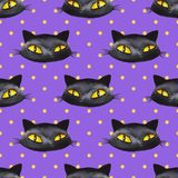 Halloween watercolor seamless pattern 4. Black cat Stock Photo