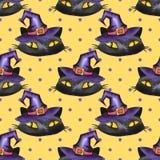 Halloween watercolor seamless pattern. Black cat Stock Image