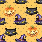 Halloween watercolor seamless pattern 10. Halloween watercolor seamless pattern. Black cat, pumpkin, witch hat Royalty Free Stock Photo