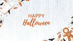 Halloween Web Banner With Sweets Stock Photo