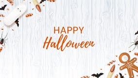 Halloween-Webbanner met snoepjes Stock Foto