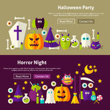 Halloween Website Banners. Halloween Party Website Banners. Vector Illustration for Web Header. Horror Night Modern Flat Design Royalty Free Stock Photo
