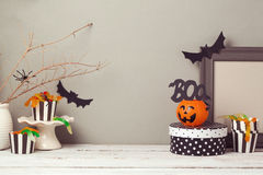 Halloween website header design with copy space. Over grunge wall Royalty Free Stock Image