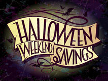 Halloween weekend savings banner with ribbons Royalty Free Stock Image