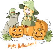 Halloween weinig heks met een kat in een hoed en pompoenen Stock Foto's