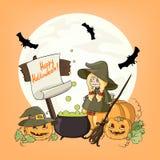 Halloween weinig heks met pompoenen Royalty-vrije Stock Fotografie