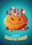 Halloween-Weinlesevektorplakat Trick oder Festlichkeit Kürbis und Süßigkeit lizenzfreie stockfotografie