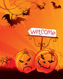 Halloween welcome card. With pumpkin Royalty Free Stock Photo
