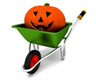 Halloween wheelbarrow Stock Photography